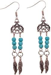 Yazilind Jewelry Flower Pattern Alloy Feather Dangle Earrings for Women