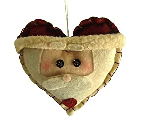 "4"" Country Heritage Plush Santa Heart Head Christmas Ornament"