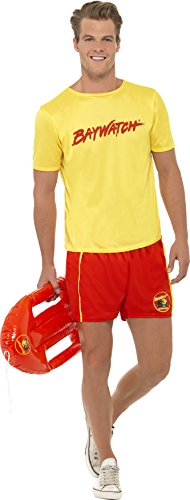 Men's Baywatch Beach Costume. Based on the 80s and 90s TV series which starred David Hasselhoff and Pamela Anderson.