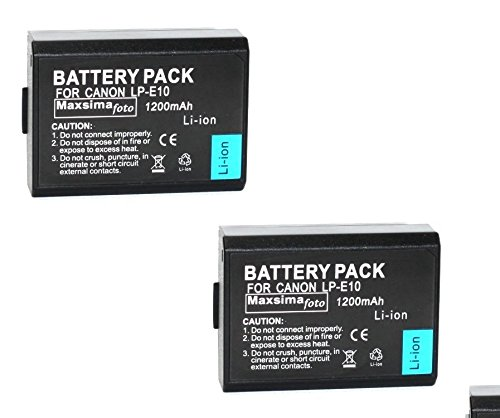 Maxsimafoto® 2x-(2 pezzi LP-E10-Batteria per Canon EOS 1100D, 1200D 1300D.