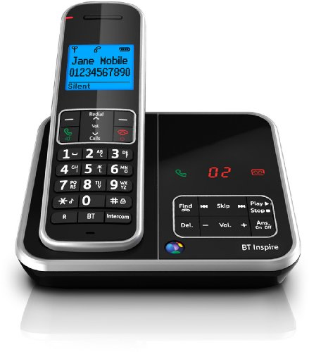 BT Inspire 1500 Single Digital Cordless Phone with Answer Machine - Black
