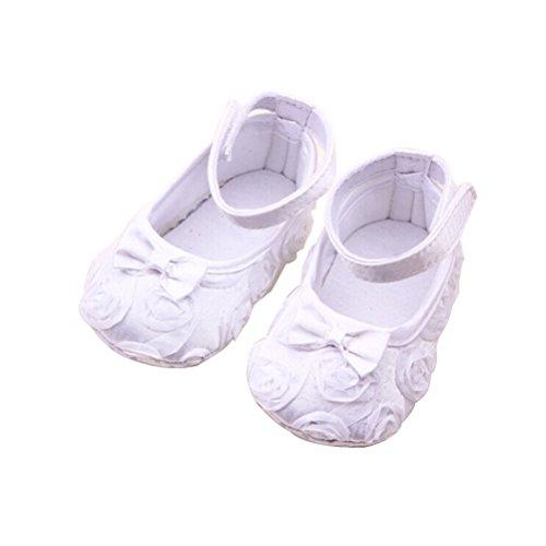 Winomo paio di scarpe di bambino sveglio ragazze Rose Bowknot Decor Prewalkers (bianco)