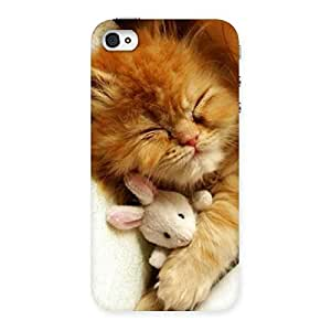 Ajay Enterprise Elite Sleeping Cat with Bunny Multicolor Back Case Cover for iPhone 4 4s