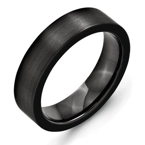Black Ceramic Flat 6mm Brushed Band, Size 8.5
