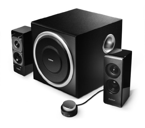 Edifier S330D Rev.2, 2.1-Soundsystem mit 2x 18W Satelliten und 1x 40W Subwoofer, inklusive Fernbedienung, schwarz