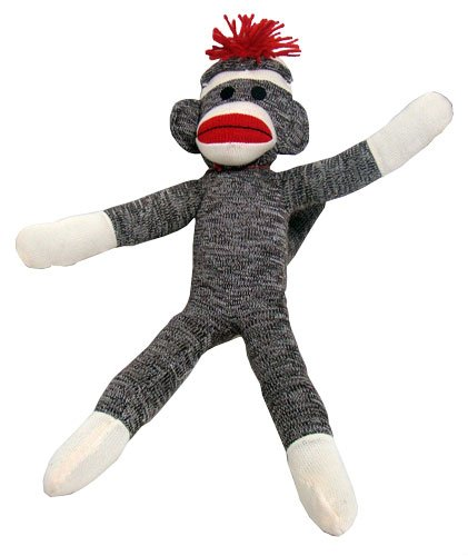 Sock Monkey Classic Stuffed Animal Toy with Free Mesh Storage Bag
