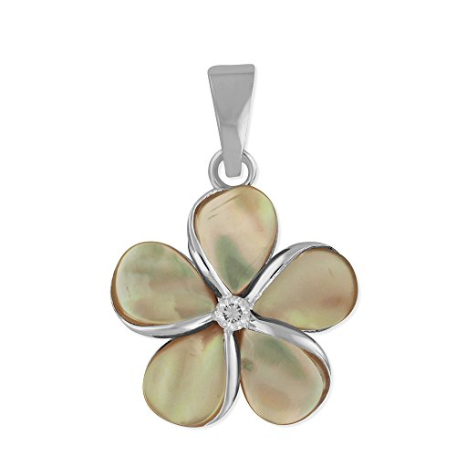Sterling Silver 5/8 Inch Mother of Pearl Plumeria Pendant Synthetic CZ