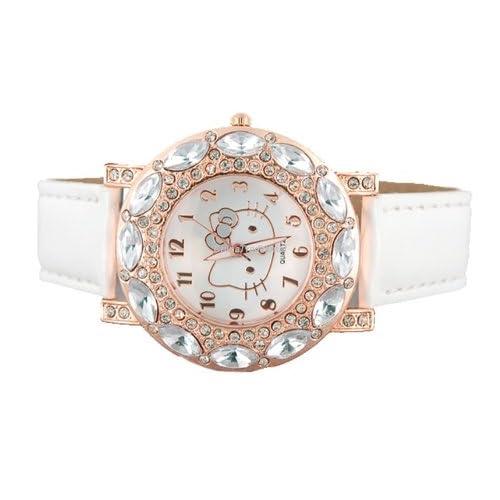 Hello Kitty Crystal Soft leather band Bracelet Girls Kids Wrist Watch