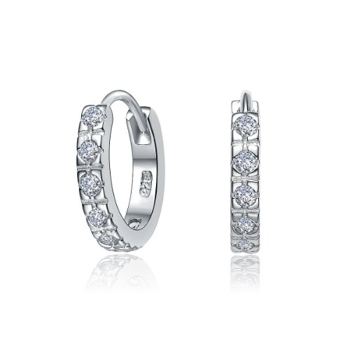 ClassicDiamondHouse CZ SMALL HUGGIE EARRINGS - Incl. ClassicDiamondHouse Free Gift Box & Cleaning Cloth