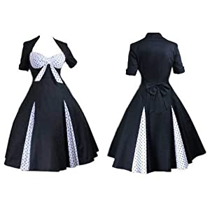 BLACK &WHITE POLKADOT SWEETHEART 50'S PARTY SWING JIVE BUNNY  DRESS. REGULAR & PLUS SIZES 8-28