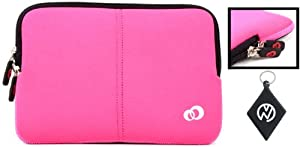 Le Pan Neoprene Sleeve Case with Dual Hidden Pocket For Le Pan II 9.7 Inch Tablet Color Magenta - Black + NuVur ™ keychain (ND10FTM1) at Electronic-Readers.com