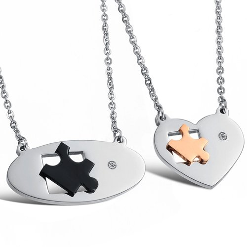 New Stainless Steel Couple Necklace Heart Pendant Rhinestone Cz Circle Chain 732