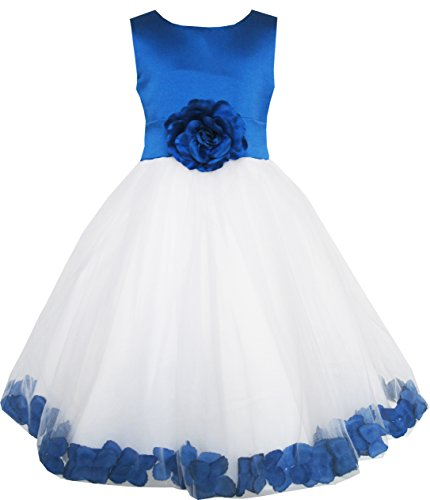 EL63 Girls Dress Blue Flower Tulle Wedding Pageant Bridesmaid Size 6 Years