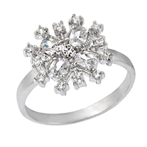 Sterling Silver CZ Snowflake Ring