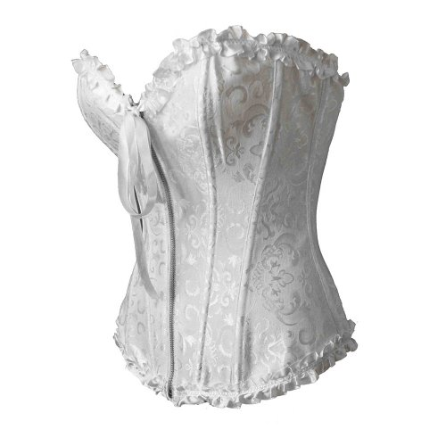 Bslingerie Womens Floral Trim Boned Bridal Corset with Zipper White Size: UK 12-14 (L)