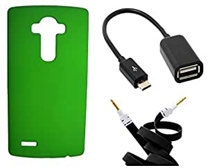 Toppings Hard Case Cover With OTG Cable & Aux Cable For LG G4 - Green