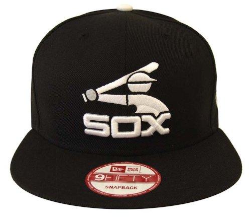 Chicago White Sox Retro New Era White Logo Snapback Cap Hat All Black