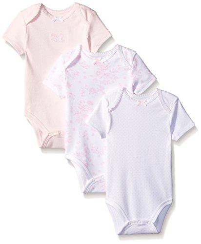 Little Me Girls' 3 Pack Bodysuit, White/Pink Lovebirds, 6 Months