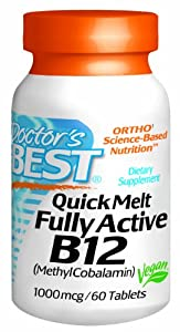 Doctor's Best Quick Melt Fully Active B12 Supplement, 1000 mcg, 60 Count