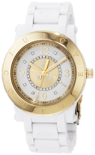 Juicy Couture Ladies White Plastic HRH Watch with Gold Bezel