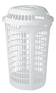 United solutions ln0009 white plastic two bushel laundry hamper with lid 2 bushel - Plastic hamper with lid ...