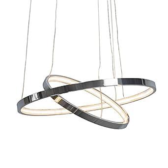 qazqa design modern pendelleuchte halo chrom metal kunststoff rund inklusive led module. Black Bedroom Furniture Sets. Home Design Ideas