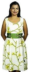 Baja Women's Dress (DSL_VN_GN, White & Green , S)