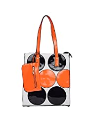 NyLs Collection Patent Bag White With Orange Polka Dots