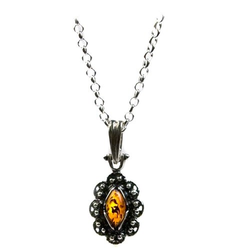 Sterling Silver Honey Amber Victorian Pendant, 18""