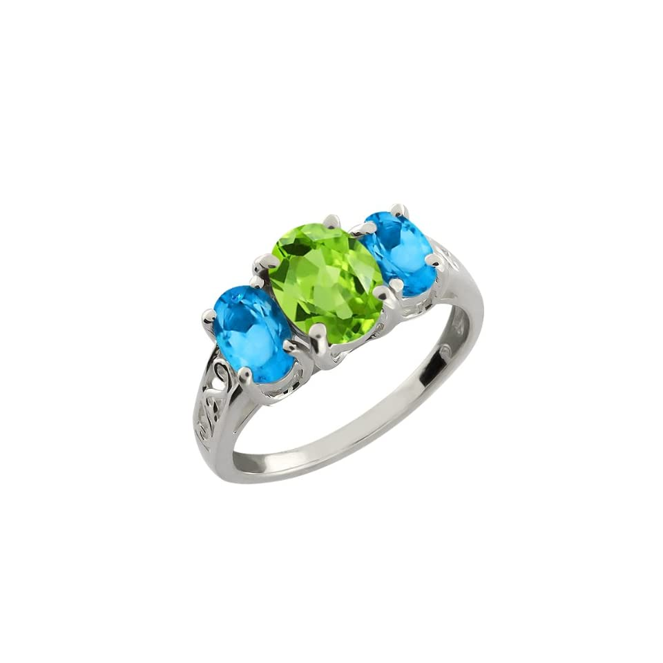 2.50 Ct Oval Swiss Blue Topaz and Green Peridot 18k White Gold Ring