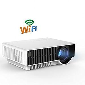 KINLO® Portable 1820x800 2800 ANSI Lumens LED Vidéoprojecteurs Full HD 3D Wifi 1920x1080(1080P)Home Cinéma Theater HDMI x2 / USB x2 / Audio in / output x1 / RCA / VGA in x1 / YPbPr / S-Video / Video x1 / Optional analog TV / DVB-T / WIFI / Android 4.4 OS / WIFI & Bluetooth - Blanc