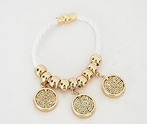 BC341 - Bracelet Aimanté Cordon Tressé Blanc avec Charms Motif Cristaux Doré - Mode Fantaisie