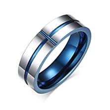 buy Zarbrina Jewellery 6Mm Blue Tungsten Carbide Ring Cross Groove Wedding Jewelry Engagement Promise Band Comfort Fit Ring Size:11