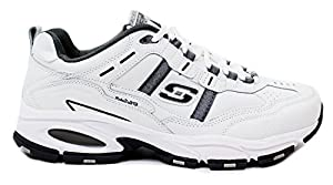 Skechers Men's Vigor 2.0 Distraction Shoes-White/Charcoal-11