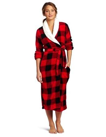 Dearfoams Women's Sherpa Shawl Printed Long Robe, Cozy Buffalo, Medium