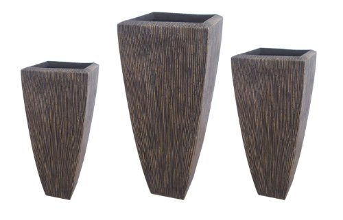 Screen Gems Sgs3105-82 Sandstone Ribbed Long Squareuare Planter Set Of 3 In Brown SGS3105-82