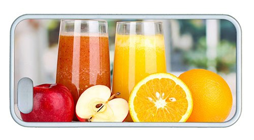 Cute Iphone 5 Case Custom Covers Nutritious Juice Apples Oranges Tpu White For Apple Iphone 5/5S front-1070795