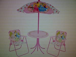 DISNEY PRINCESS PATIO SET Childrens Patio Set 4 Piece Includes Table 2 Fold