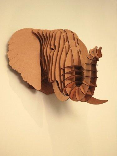 Tête Eléphant en Carton Recyclé - Taille M - CARDBOARD SAFARI