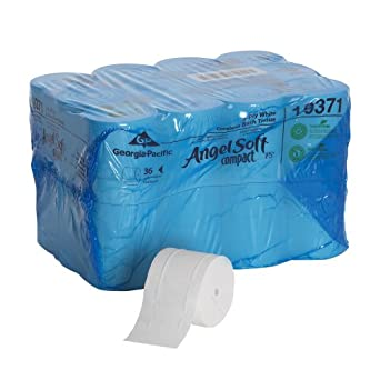 "Angel Soft ps 193-71 Compact 4.05"" Length, 3.85"" Width, 4.75"" Roll Diameter Coreless 2-Ply Premium Bathroom Tissue (Roll of 36)"