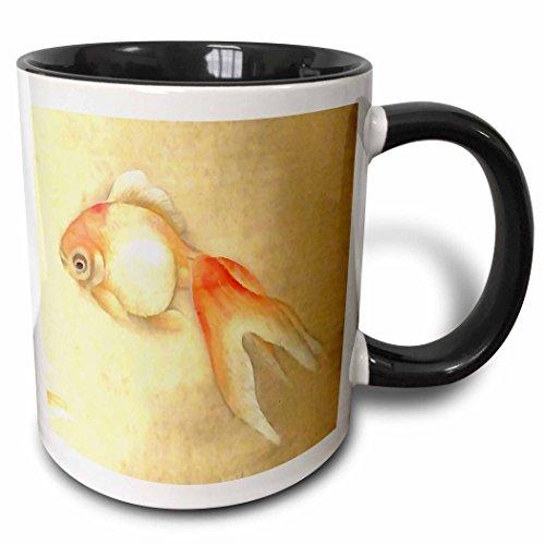 3dRose Taiche - Acrylic Painting - Goldfish - Japanese Goldfish - 11oz Two-Tone Black Mug (mug_245537_4)