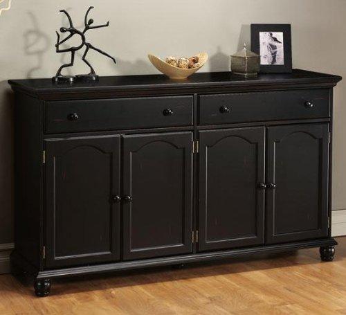 Cheap Harwick Black Credenza Sideboard Buffet Table 35 u2033H x 60 u2033W x 16 u2033D, 60 u2033W, BLACK Kitchen