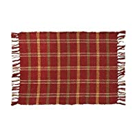 Country Style Russet Red, Green, Gold Rib Weave Placemat Set of 2 12x18