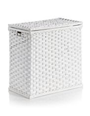 White Rattan Large Laundry Sorter