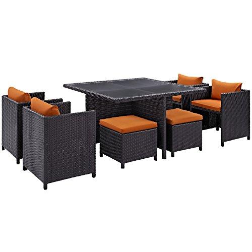 LexMod 9 Piece Inverse Outdoor Patio Dining Set, Espresso Orange (9 Piece Espresso Dining Set compare prices)