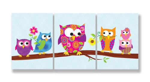 The Kids Room by Stupell Owls on a Branch 3-Pc. Rectangle Wall Plaque Set