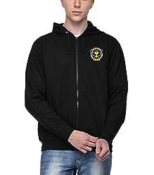 ADRO Men's Premium Cotton Printed Zipper Hoodie Sweatshirt (Black)