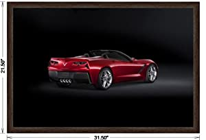 2014 framed car art poster print red rear side top down view. Black Bedroom Furniture Sets. Home Design Ideas