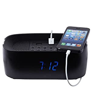 groov e bluetooth wireless playback alarm clock radio speaker system black health. Black Bedroom Furniture Sets. Home Design Ideas