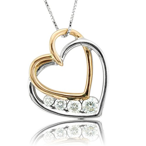 10k Yellow and White Gold Diamond Journey Heart Pendant Necklace (GH, SI3-I1, 0.25 carat)